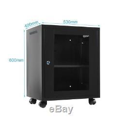 12U Network Server Data Cabinet Enclosure Rack Glass Door Lock Wall Mount + Fan