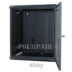 12U Wall Mount IT Server Network Cabinet Rack Enclosure Glass Door Lock 18 Deep