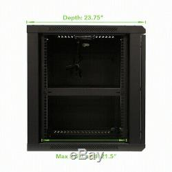12U Wall Mount Network Server 600mm Depth Cabinet Rack Enclosure Glass Door Lock