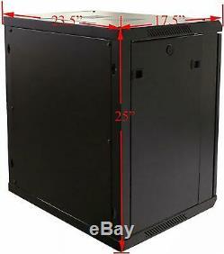 12U Wall Mount Network Server Cabinet Enclosure 19-Inch Server Rack 16-Inch deep