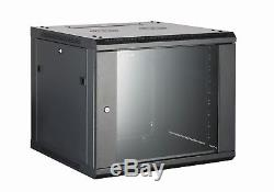 12U Wall Rack BLACK 450mm Deep 19 Data Rack AV Rack used with PDU Patch Panel