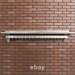 12 x 60 Stainless Steel Wall Pot Rack Shelf Hook Commercial Restaurant Kitchen
