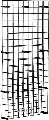 144 Bottle Floor Wine Rack Black Wall Mount Sturdy Metal Stack Grid Display