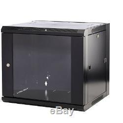 15U 500mm 19 Black Wall Cabinet Network Data Rack Patch Panel, PDU & LAN Switch