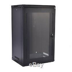 15U Network Server Wall Mount Cabinet Data Storage Rack Glass Door Lock with Fan