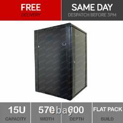 15U Server Rack Network Cabinet 19 inch 570 x 600mm Black