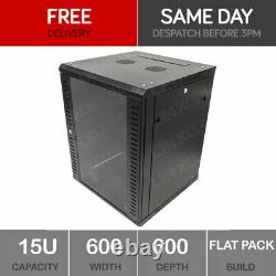 15U Server Rack Network Cabinet 19 inch 600 x 600mm Black