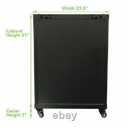 15U Wall Mount Audio Video A/V Rack Cabinet Glass Door Lock Casters and Shelves