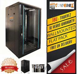 18U SERVER RACK WALLMOUNT 19 INCH 600 (W) x 600 (D) x 1000 (H) flat pack rack