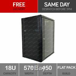 18U Server Rack Data Network Cabinet 19 inch 570 x 450mm Black