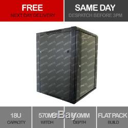 18U Server Rack Data Network Cabinet Double Side 19 inch 570 x 600mm Black