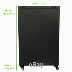 18U Wall Mount Audio Video A/V Rack Cabinet Glass Door Lock Casters and Shelves