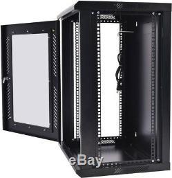 18U Wall Mount Network Server Data Cabinet Enclosure Rack Glass Door Lock With Fan