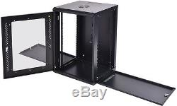 18U Wall Mount Network Server Data Cabinet Enclosure Rack Glass Door Lock with Fan
