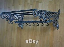 1930ca VINTAGE COAT RACK WALL HANGER BRASS 8 HOOKS 28 inches