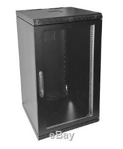 19 Inch 18U 500mm Deep Wall Mount Network Cabinet Rack, Glass Door withlock, Black