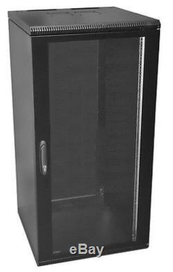 19 Inch 21U 400mm Deep Wall Mount Network Cabinet Rack, Glass Door withlock, Black