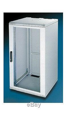21U 500mm deep wall mount cabinet rack Glass door Withlock Beige(light gray) color