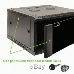 22U IT Wall Mount Network Server Data Cabinet Rack Glass Door Locking Casters
