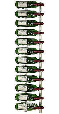 24 Bottle VintageView Metal Wall Mounting Wine Rack Brushed Nickel Finish