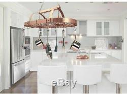 2-Light Copper Kitchen Pot Rack Light with Hooks Elegant Rose-Gold-Copper Finish