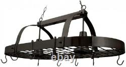 2-Light Hanging Kitchen Pot Rack Light with Hooks Oil-Rubbed Bronze Industrial