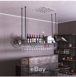 2 Tiers Ceiling Wine Racks Wall Mounted Hanging Wine Bottle Holder