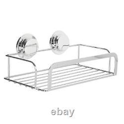 2 x Stainless Steel Stick N Lock Chrome Shower Rack Caddy Bathroom Shower Basket