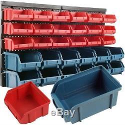 30 Bin Wall Mounted Storage Parts Rack Screw Bolt Shop Garage Tool Box Organizer