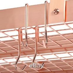 30 in. Ceiling / Hanging Pot Rack Rectangular with Grid and 24 Hooks, Satin Copper