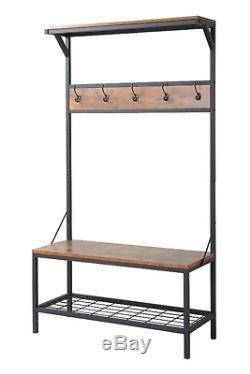 3 Shelf Hall Tree Coat Rack Antique Wood 5 Hook Entry Bench Furniture Homestar