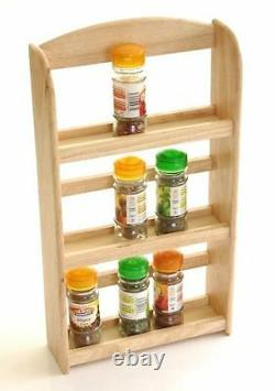 3 Tier Bamboo Wood Wooden Herb Spice Rack Jar Holder Stand Wall Mounted Herbs