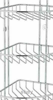 3 Tier Corner Shower Caddy Chrome Bath Rack Basket Shelf Organizer Unit Bathroom