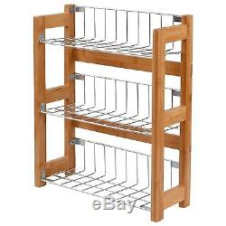 3 Tier Free Standing Wall Mounted Bamboo Kitchen Spice Jar Rack Organiser