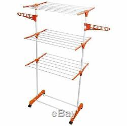 3 Tier Large Deluxe Indoor Clothes Airer Foldable Laundry Drying Dryer Rack