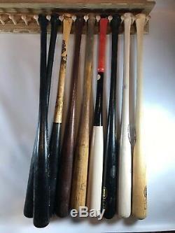 40 Wooden Baseball Bat Vertical Display Rack Wall Mount with Top Shelf 10 bats