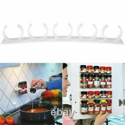 40x Clips Kitchen Spice Gripper Strip Jar Rack Storage Holder Wall Cabinet Door