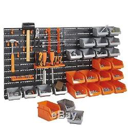 44 PCS Storage Rack Organizer Wall Mount Tools Box Bin Panel Rack Workshop Shed