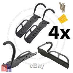 4X Steel Bicycle Storage Wall Mounted Hook & Rack Holder Hanger Stand Black UKED