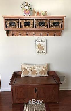 4 Cubby Oak Coat Rack Wall Hanging 48 Wide