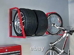 4 Tire Storage Auto Shelf Loft Wheels Bike Rack Garage Organize Hold Wall Mount