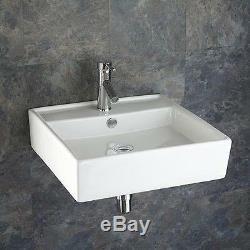 50.5cm Square Wall Mounted Sink Countertop Sink White Bathroom Basin