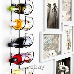 5 Bottle Wine Rack Black Metal Wall Mounted Storage Holder Shelf Kitchen Vine UK