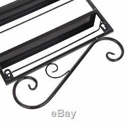 5 Tier Black Nail Polish Rack Wall Mounted Metal Display Organizer Stand UK