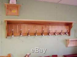 60 Oak Coat Rack 9 Deep With 9 Hooks Large Hallway Wall Hanging Rack