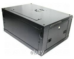 6U 450mm 19 Black Network Cabinet Data Comms Wall Rack, Patch Panel Switch LAN