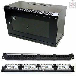 6U Black 450mm Data Cabinet + Cat6 Patch Panel Network Data & LAN Comms Rack