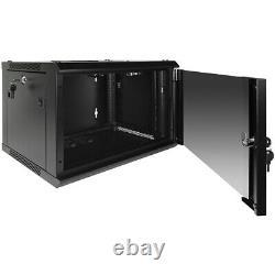 6U Wall Mount Network Server Data Cabinet Enclosure Rack Glass Door Lock with Fan