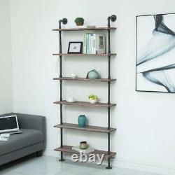 6 Tier Ladder Shelves Unit Wood Wall Mounted Shelf Bookcase Storage Display Rack