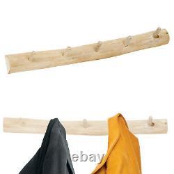 80cm Handmade Natural Rustic Wooden Teak Wall Mounted Jacket Coat Rack 5 Hooks